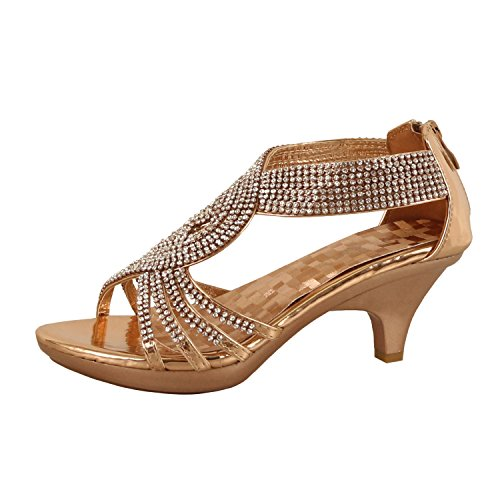 Delicacy Womens Strappy Rhinestone Dress Sandal Low Heel Shoes (8 B(M) US, Rose Gold) for $<!--$29.95-->