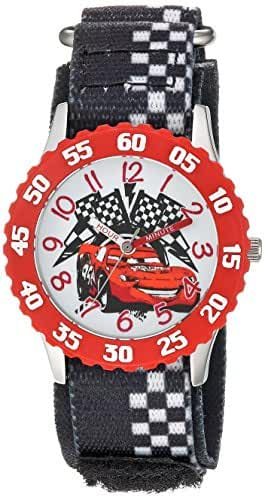 Disney Boy's 'Cars' Quartz Stainless Steel and Nylon Casual Watch, Color:Black (Model: WDS000028)