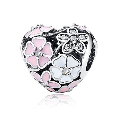 WOSTU Heart Enamel Sterling Silver Bead Charms Fit Charm Bracelets
