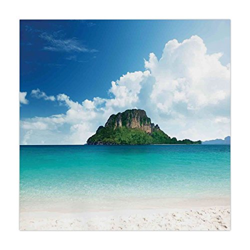 (iPrint Satin Square Tablecloth,Ocean Island Decor,Poda Island in Thailand South Asian Tropic Paradise Hot Sun with Clouds Photo,Blue White Cream,Dining Room Kitchen Table Cloth Cover)