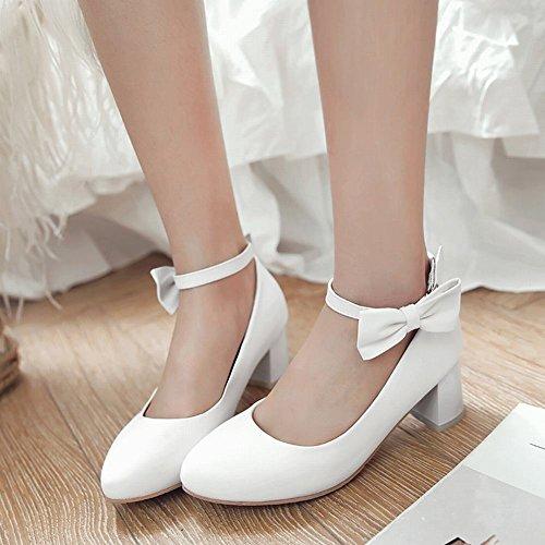 Breloque Pied De Charme Femmes Arcs Cheville Sangle Chunky Mi-talon Pompes Chaussures Blanc