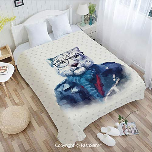 PUTIEN Flannel Fleece Blanket with 3D Portrait of Serious Looking Leopard Male Jungle Animal with Jacket Watercolors Decorative Blanket for Home(59Wx78L)