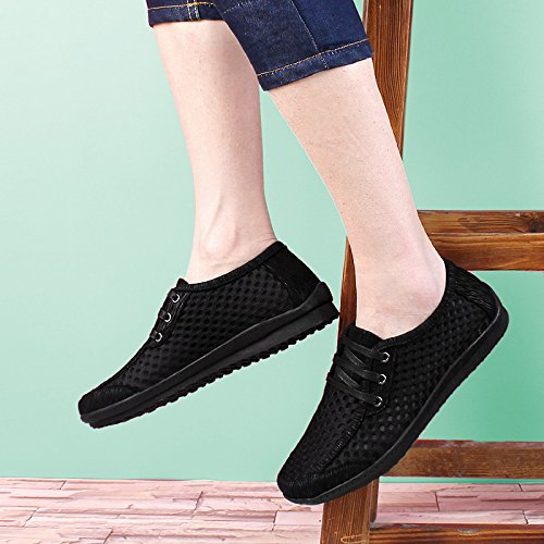 Abby QZYYU-702 Mens Cozy Breathable Mesh Holes Lace Up Moccasins Lightweight Casual Plain Toe Heat Resistant Outdoor Driving Daily Wear Fresh Penny Loafers Non Skid Prevalent Flats Black PlTpM8Id