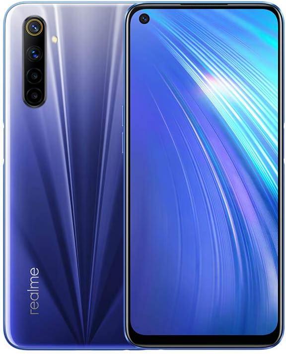 realme 6 Smartphone 4 Go + 64 Go, caméra 64MP AI, écran ultra-lisse de 90 cm à 16.5 Hz, processeur Helio G90T, bleu (Comet Blue)