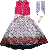 Cute Fashion Kids Girls Baby Princess Popcorn Net Party Wear Flower Dresses Clothes 3 Months to 7 Years (Pink, 12-18 Months)