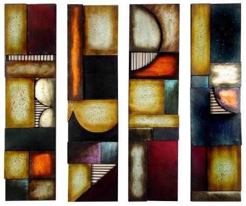 Benzara 79 99144 Metal Wall Plaque Unique Wall Decor, Multicolor ()
