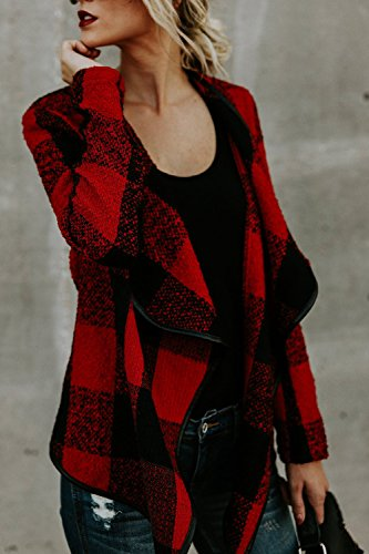Bajar Invierno Red Red Jacket Lined Big Outerwear Mujer Irregular Collared La Elegante 5YPwtq4xZ