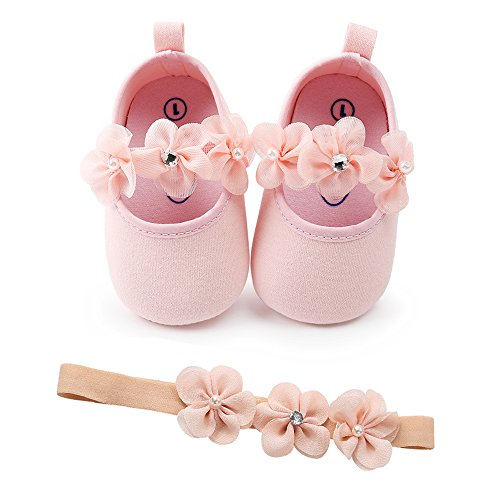 SOFMUO Baby Girls Floral Mary Jane Flats Soft Sole Infant Crib Walking Shoes with Headband (Pink,0-6Month)