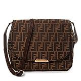 Fendi Zucca FF Monogram Canvas Leather Shoulder Bag 8BT215