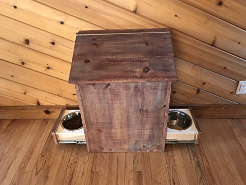 Rustic Pet Raised Feeder With Food Storage by Peterson Custom Cabinets