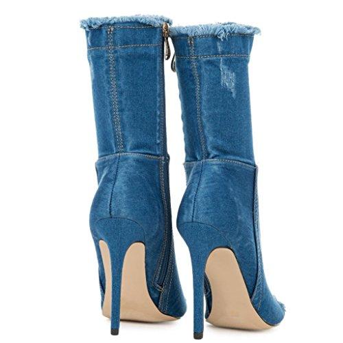 Berlin Denim Sexy Open Diva 97 Heel High 290 Elnora Blue Blue by Wild Peep Light Booties Toe Distressed IHFxxO