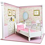 Bedroom and Kitchen Interchangeable 18 Inch Dollhouse Playscape with Bed, Table and 2 Chairs