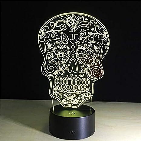 La cabeza de flor del cráneo 3D llevó luces de la noche/los ...