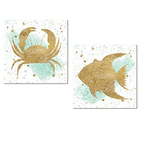 Gango Home Décor Lovely Nautical Gold Splatter and Teal Watercolor-Style Crab and Tropical Fish Ocean Set by Wild Apple Portfolio; Coastal Decor; Two 12x12in Unframed Paper Posters ()