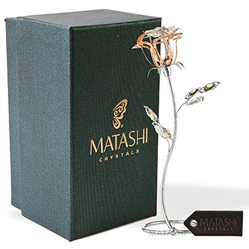 Rose Flower Tabletop Ornament w/ Clear Matashi Crystals, Long-Stem, Metal Decorative Home Décor   Elegant Craftsmanship (Single Rose Large, Rose Gold)