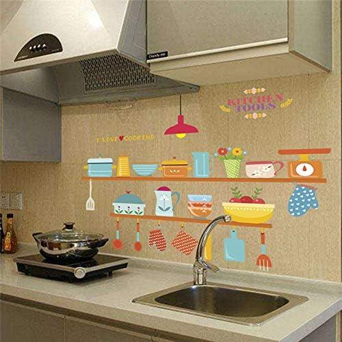 Divertidos utensilios de cocina 30 x 90 cm calcomanías de pared tienda ventana decoración para el hogar dibujos animados pegatinas de pared decoraciones Pvc Poster Diy arte mural: Amazon.es: Bricolaje y herramientas