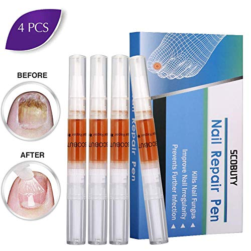 (Nail Repair Pen,Toenail Treatment, Toenail Care,Solution Repairs & Protects from Discoloration, Brittle and Cracked Nails 4 pcs)