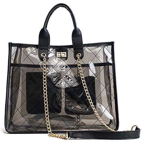 Women PVC Clear Quilted Shoulder Strap Transparent Bag Waterproof Chain Purse Handbag (Black)