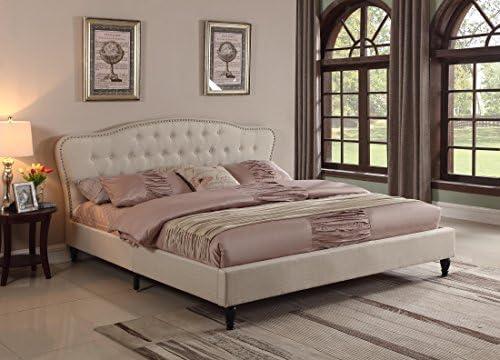 Best modern bed: Home Life Premiere Curved Classics Cloth Light Beige Silver Linen 51″ Tall Headboard Platform Bed