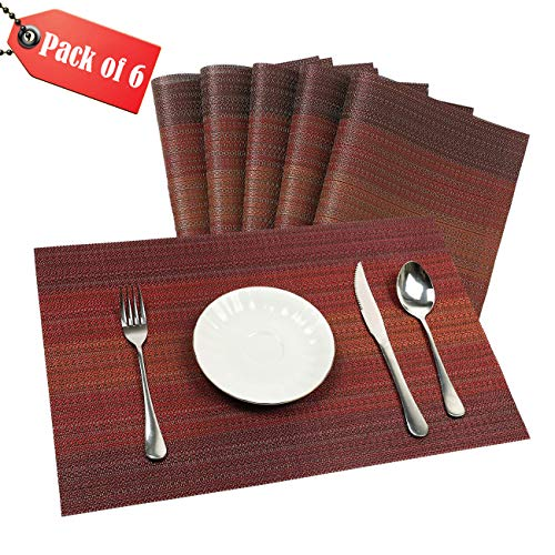 Techmehome Placemats Vinyl Textilene Anti-Skid Heat-Resistant PVC Placemat Washable Wipe Clean for Dining Table Mats Set of 6 (Red)