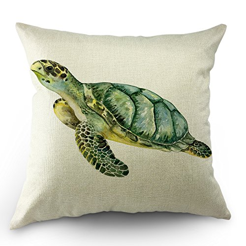Moslion Turtle Pillows Decorative Throw Pillow Cover Case Watercolor Beach Animal Tortoise Sea Turtle Pillow Case 18 x 18 Inch Cotton Linen Cushion Cover for Sofa Living Room Green ()