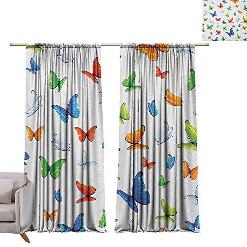 Curtain Panels Butterflies,Butterflies Animal Clipart Ecology Environment Joyful Design Cartoon Tropics, Multicolor W84 x L96 Grommet Curtain for Bedroom