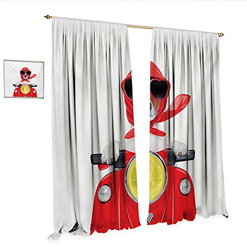 Dog Driver Waterproof Window Curtain Stylish Canine with Scarf Sunglasses Fashion Model Riding Scooter Funny Animal Waterproof Window Curtain W108 x L108 Multicolor.jpg