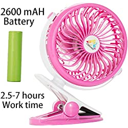 Fans Portable Clip On Fan For Desk, Car, Bed, Baby stroller, table, USB Fan With Rechargeable Battery