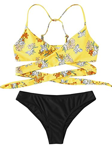 SOLY HUX Women's Tropical Print Criss Cross Wrap Two Piece Bikini Set Yellow Flower S