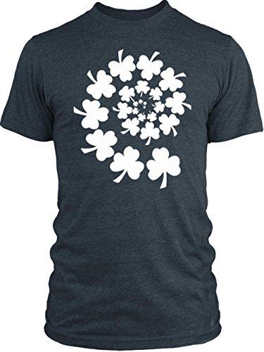 Vintage Shamrock Tri Blend (Big Texas Shamrock Spiral (White) Vintage Tri-Blend T-Shirt, Vintage Navy,)