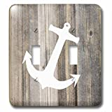 3D Rose LSP_233020_2 Image of White Anchor on Weathered Planks Double Toggle Switch