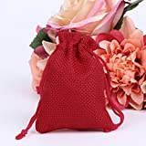 cici store 50Pcs Vintage Natural Jute Drawstring Pouch - Burlap Bags - Wedding Favor Gift Bag (red)
