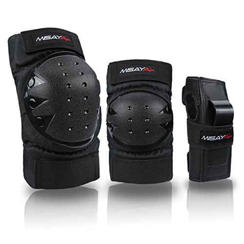 Misayar Knee Pads Elbow Pads Wrist Guards 3 In 2 Protective Gear Set for Skateboarding, Roller Skating, BMX Bicycle Scooter, - Guard Wrist Set