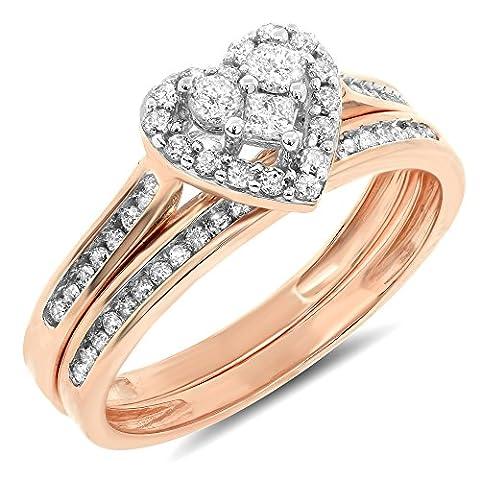 0.52 Carat ctw 10k Gold Round Princess Diamond Bridal Heart Halo Shaped Engagement Ring Wedding Band Set - Rose-gold, Size (Chocolate Diamond Rose Gold Band)