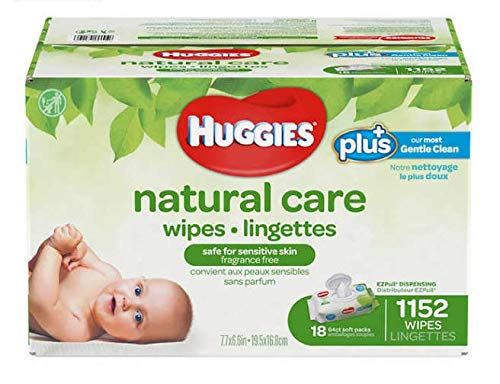 Huggies Natural Care Plus Baby Wipes, 16.8 X 19.5 cm, 1152 Count