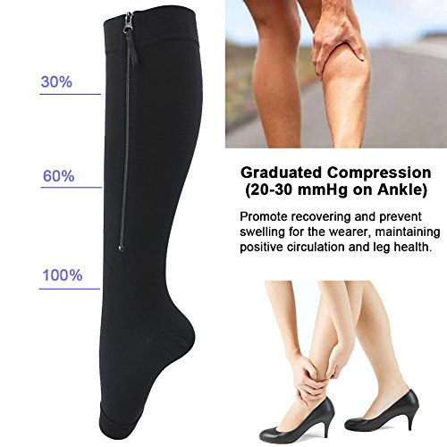 Ailaka Medical Zipper Compression Calf Socks 20-30 mmHg for Women & Men, Knee High Open Toe Firm Support Graduated Varicose Veins Hosiery for Edema, Swelling, Pregnancy, Recovery (XX-Large, Black)