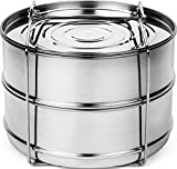 PREMIUM Stackable Steamer Insert Pans with Sling for Instant Pot Accessories 5, 6 & 8 qt.- 100% Stainless Steel Food Steamer for Pressure Cooker, Baking, Lasagna Pans - Cook 2 foods at Once