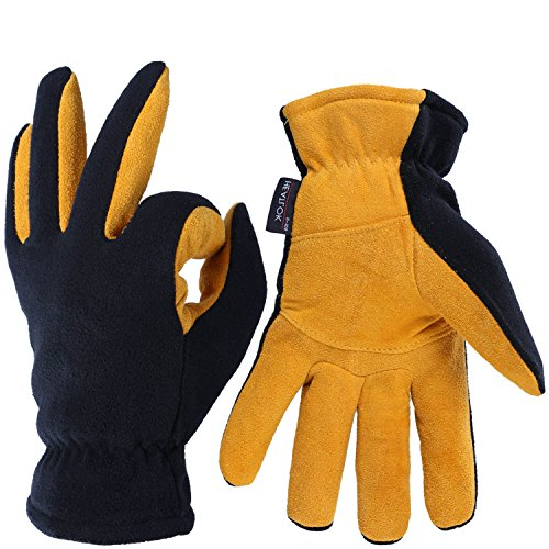 OZERO Deerskin Suede Leather Palm and Polar Fleece Back with Heatlok Insulated Cotton Layer Thermal Gloves, Medium - Tan-Black