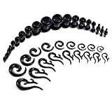 BodyJ4You Black Plugs Kit with Spiral and Tribal Tapers Kit 54 pieces Gauges Kit 14G-00G Stretching Set
