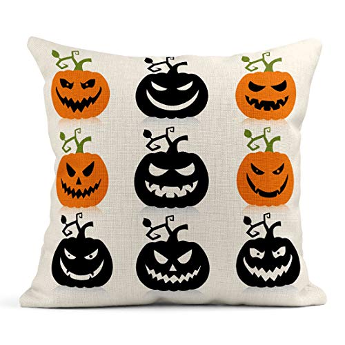 Tarolo Throw Pillow Covers Green Silhouette of Scary Halloween Pumpkin Orange Outline Simple Spooky Linen Cushion Cases Home Decorative Pillowcases 18 x 18 inches -