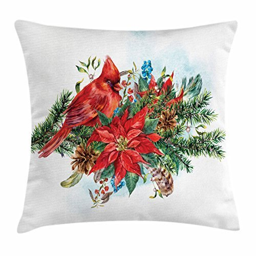 FunnyLife Cardinal Throw Pillow Cushion Cover, Christmas Themed Bird on Festive Floral Bouquet Poinsettia Pinecones and Berries, Decorative Square Accent Pillow Case Multicolor