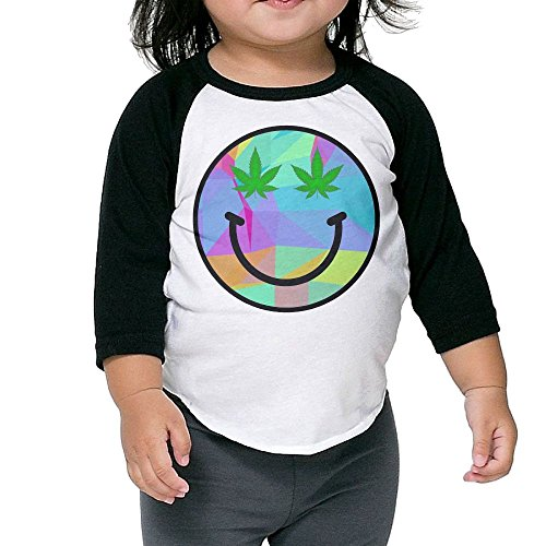CKND Weed Smiley Face Rainbow Triangles Baby 100% Cotton Raglan 3/4 Sleeve Baseball T Shirt Top
