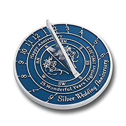 Looking For The Best 25th Silver Wedding Anniversary Gift? This Unique Sundial Gift Idea Is A Great Present For Him, For Her Or For A Couple To Celebrate 25 Years Of Marriage
