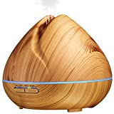Image of Essential Oil Diffuser 400ml, Wood Grain, natural shape, Ultrasonic Aroma Humidifier, Cool MIst Automatic shutdown and 4 settings timer, 7 colors LED light for home office yoga spa