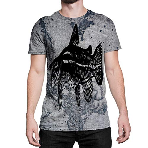 - Idakoos Animal Flat Headed Catfish 3D - Men T-Shirt Polyester L