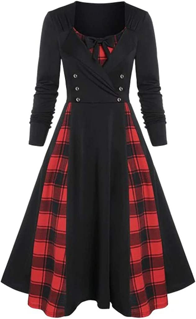 Willow S Womens Vintage V-Neck Bow Dress Solid Color Plaid Receiving Waist Button Long Sleeve Ruffled Pleated Dress