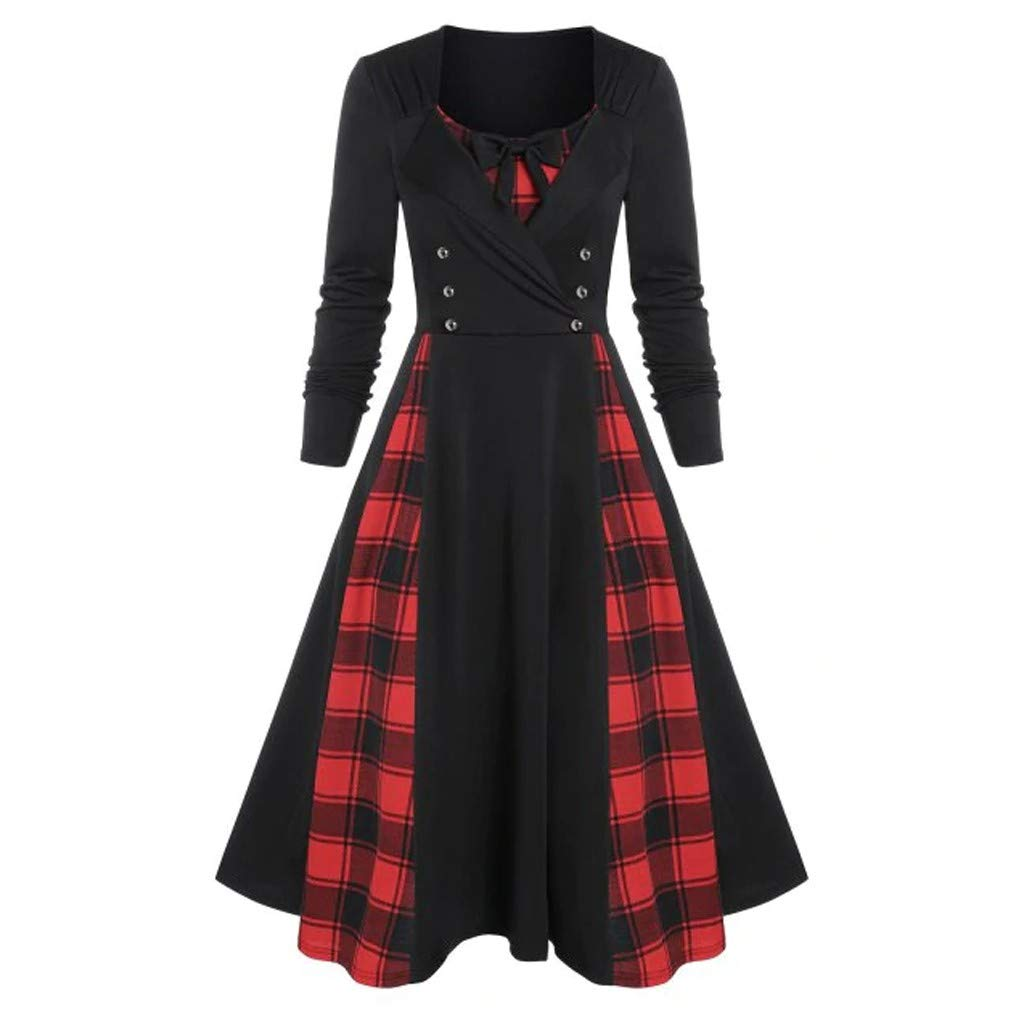 Willow S Women's Vintage V-Neck Bow Dress Solid Color Plaid Receiving Waist Button Long Sleeve Ruffled Pleated Dress Black by Willow S