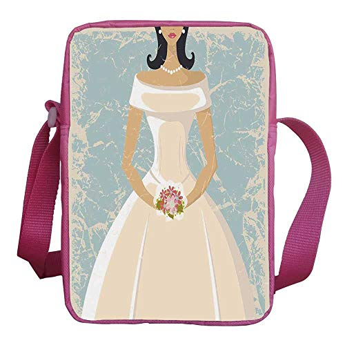 (Bridal Shower Decorations Stylish Kids Crossbody Bag,Grunge Sketchy Design Backdrop Wedding Bride Dress Art for Girls,9