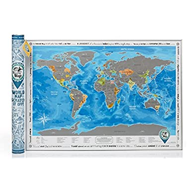 Detailed World Map with Scratch off & Stickers, Large Size, Tube Packaging