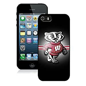 Beautiful Designed Case With Ncaa Big Ten Conference Football Wisconsin Badgers 13 Black For Case For Iphone 5/5S Cover